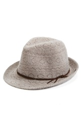 Collection Xiix Lace Knit Packable Fedora Taupe