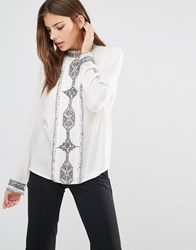 Essentiel Antwerp Moufassa Boho Embroidery Long Sleeve Shirt White