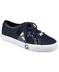 G By Guess Byrone Quilted Lace Up Sneakers Women's Shoes Denim