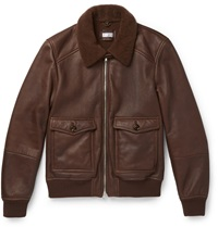 Brunello Cucinelli Shearling Lined Leather Bomber Jacket Brown