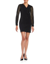 Elie Tahari Chain Accented Shift Dress Black