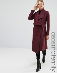 Asos Maternity Trapeze Waterfall Coat Berry Red