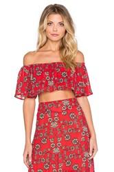 For Love And Lemons Pia Crop Top Red