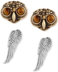 Lucky Brand Two Tone 2 Pc. Set Owl Head And Wing Stud Earrings Two Tone