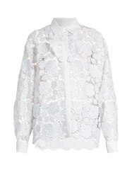 N 21 Ruffle Trimmed Guipure Lace Shirt White