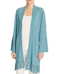 Minnie Rose Moroccan Fringe Cardigan Blue Spice