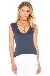 Velvet By Graham And Spencer Estina Gauzy Whisper Scoop Neck Tank Slate