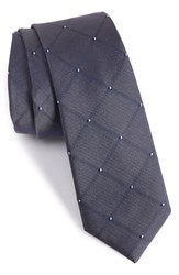 Calibrate Men's 'Connect Grid' Silk Skinny Tie Charcoal