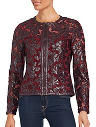 Bagatelle Floral Motif Mesh Jacket Red