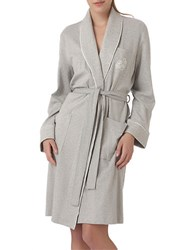 Lauren Ralph Lauren Plus The Hartford Robe With Quilted Collar And Cuffs Heather Grey