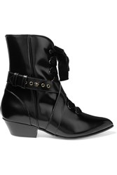 Philosophy Di Lorenzo Serafini Lace Up Velvet Trimmed Glossed Leather Ankle Boots Black