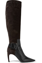Roger Vivier Leather Paneled Suede Knee Boots Dark Brown