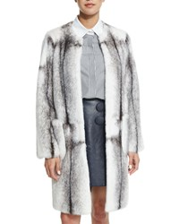 Adam By Adam Lippes Mink Fur Long Coat Black White