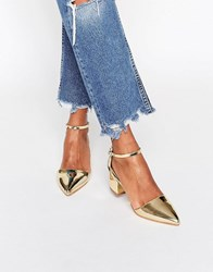 Truffle Collection Molly Ankle Strap Mid Heeled Shoes Gold Metallic