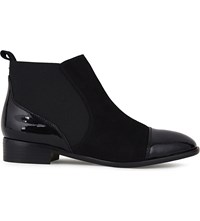 Karen Millen Suede And Patent Leather Chelsea Boots Black