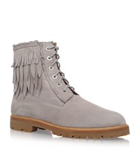 Aquazzura Boho Heilbrunner Fringed Suede Boots Female Light Grey