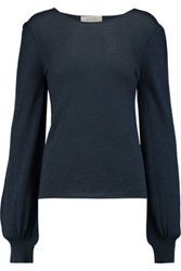 Goat Cashmere And Silk Blend Sweater Storm Blue