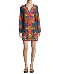 Hemant And Nandita Long Sleeve Split Neck Mini Dress Shawl Print
