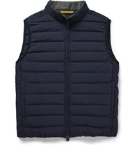 Canali Quilted Shell Down Gilet Blue