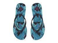 Freewaters Jess Print Black Blue Leaves Women's Shoes