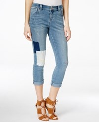 Inc International Concepts Cropped Patchwork Jeans Only At Macy's Indigo