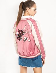 Pixie Market Pink Floral Embroidered Satin Bomber Jacket