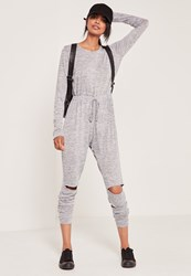 Missguided Grey Long Sleeve Ripped Knee Jumpsuit