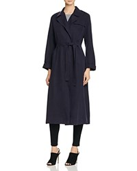 French Connection Sidewalk Drape Trench Coat Util Blue