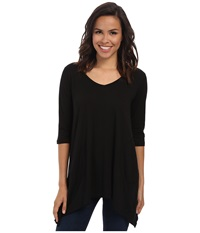 Allen Allen 3 4 Sleeve V Angled Tunic Black Women's Short Sleeve Pullover