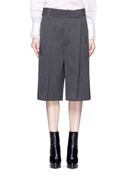 Marc Jacobs Pinstripe Wool Blend Cropped Wide Leg Pants Grey
