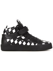 Giuseppe Zanotti Design Diamond Patchwork Mid Top Sneakers Black