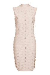 Topshop Petite Tape Bandage Bodycon Dress Nude