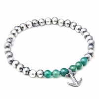 Anchor And Crew Green Agate Keel Stone Silver Bracelet