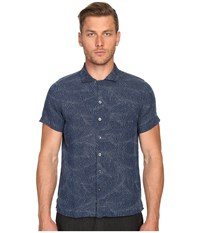 Todd Snyder Short Sleeve Convertible Collar Button Up Indigo Men's Short Sleeve Button Up Blue