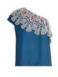 Peter Pilotto One Shoulder Embroidered Lace Crepe Top Blue