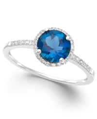 Macy's London Blue Topaz 1 3 8 Ct. T.W. And Diamond 1 8 Ct. T.W. Ring In 14K White Gold
