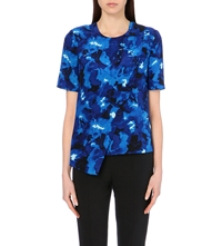 Whistles Marbled Floral Shell Silk Top Multi Coloured