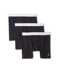 Original Penguin 100 Cotton 3 Pack 2 Button Boxer Brief Black Men's Underwear