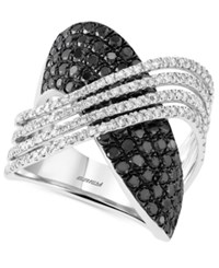 Effy Collection Caviar By Effy Black And White Diamond 2 Ct. T.W. Crossover Ring In 14K White Gold