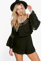 Boohoo Open Shoulder Crochet Trim Playsuit Black