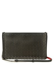 Christian Louboutin Loubiposh Spike Embellished Leather Pouch Black Silver