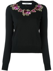 Givenchy Floral Embroidered Sweater Black