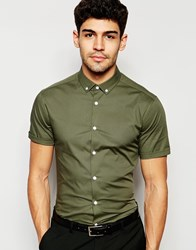 Asos Skinny Shirt In Dusty Olive With Button Down Collar And Short Sleeves Green