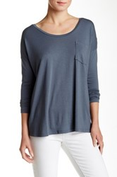 Lilla P Long Sleeve Front Pocket Tee Gray