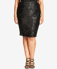 City Chic Trendy Plus Size Sequined Pencil Skirt Black