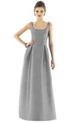 Alfred Sung Women's Scoop Neck Dupioni Full Length Dress Quarry