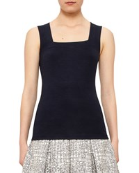 Akris Punto Square Neck Fitted Tank Navy Women's