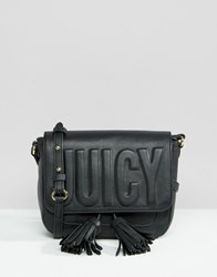 Juicy Couture Black Embossed Cross Body Bag Pitch Black