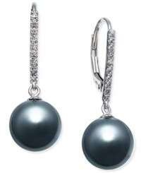 Macy's Cultured Tahitian Pearl 9Mm And Diamond 1 10 Ct. T.W. Drop Earrings In 14K White Gold Black