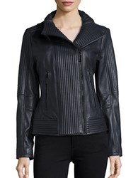Vince Camuto Ribbed Moto Jacket Navy Blue